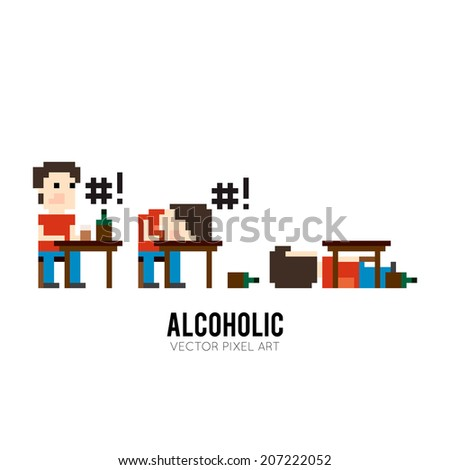 Pixel art character sitting at the table, drinking and swears, sleeping on the table and sleeping under the table - stock vector