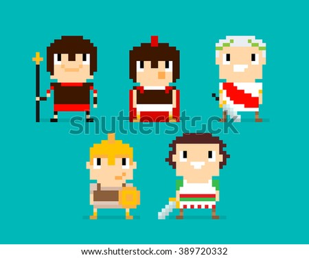 Pixel art characters, group of Roman and Greek warriors