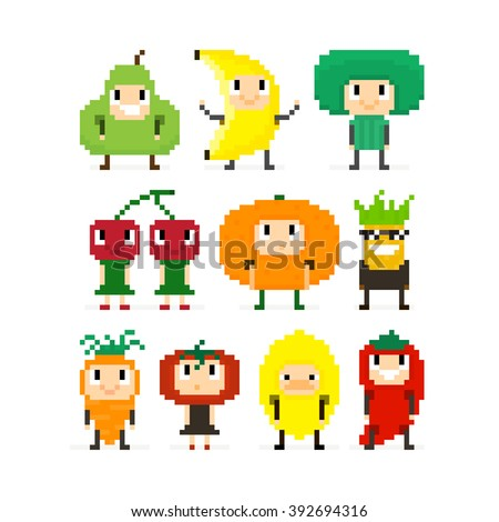Pixel art characters, people in fruit and vegetable costumes