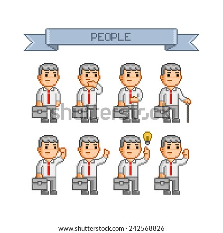 Pixel art collection for business - stock vector