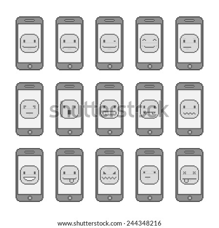 Pixel art collection funny smiles and smart phones - stock vector