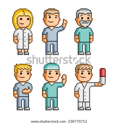 Pixel art collection of different characters doctors - stock vector