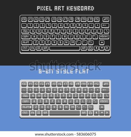 pixel art computer keyboard vector illustration stock vector