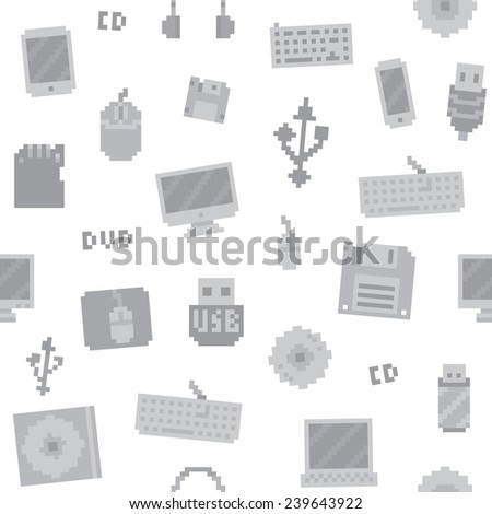 Pixel art computer objects seamless vector pattern (white) - stock vector