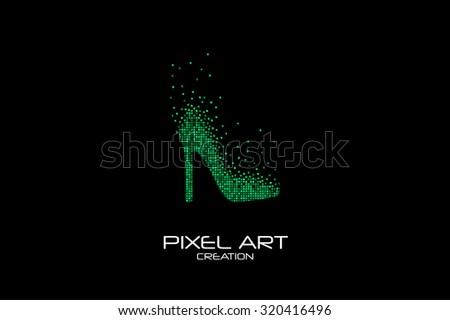 Pixel art design of the female shoe logo. - stock vector