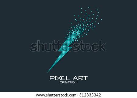 Pixel art design of the lightning logo. - stock vector