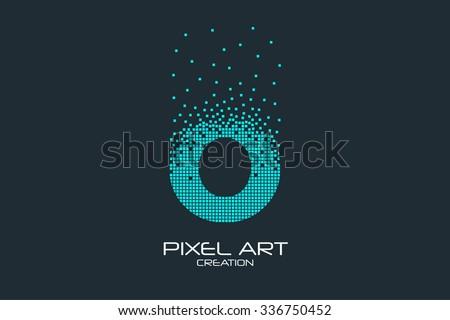 Pixel art design of the O letter logo. - stock vector