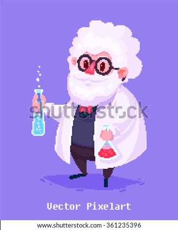 Pixel art. Funny  illustration of old scientist. Cartoon character. Isolated vector illustration. - stock vector