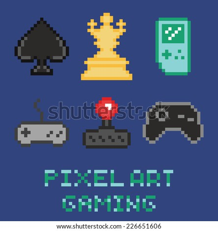 pixel art game design icon set - chess, gamepades, cards, portable console - stock vector
