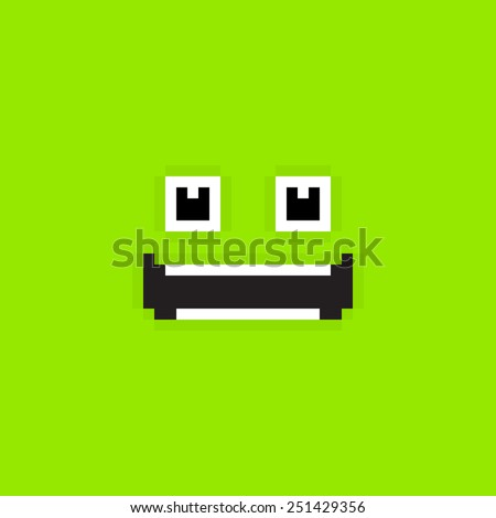 Pixel art green background with happy smiling face - stock vector