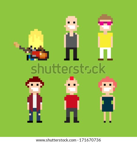 Pixel art guitar player and people - stock vector
