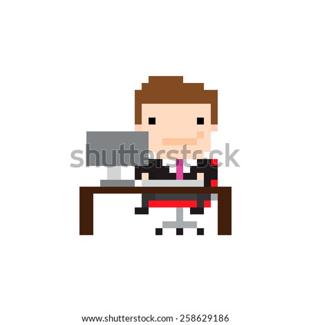 Pixel art guy sitting in front of the computer at work - stock vector