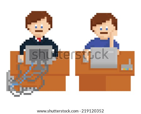 pixel art illustration - office table with wireless and wired computers and workers, isolated on white background - stock vector