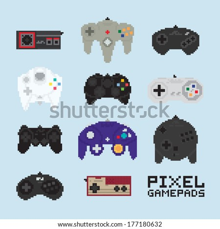 Pixel art isolated vector gampads - stock vector