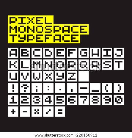 Pixel art monospace alphabet, numbers and symbols - stock vector