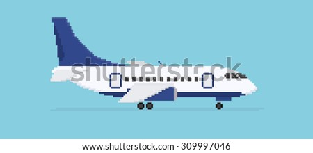Pixel art plane isolated on blue background - stock vector