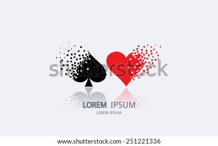 Pixel art playing card suit logo. Vector logotype design. - stock vector