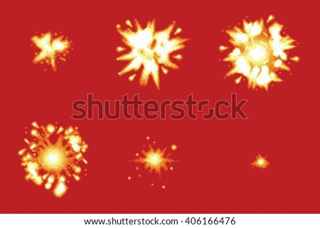 Pixel Art Space Game Explosion Animation Vector Frames Isolated - stock vector
