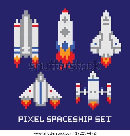 Pixel art spaceship isolated vector set - stock vector