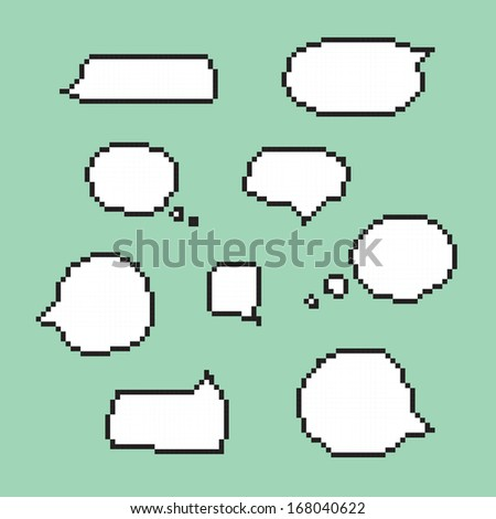 Pixel art speech bubbles isolated vector - stock vector