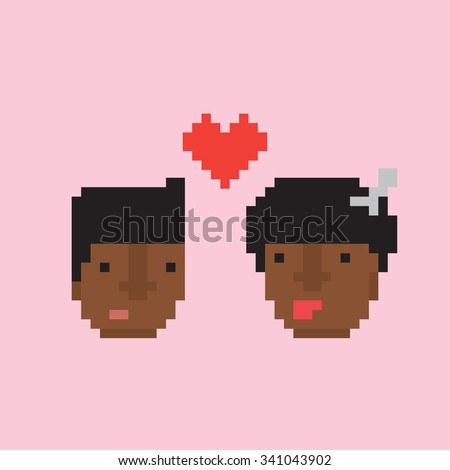 Pixel art style afro american couple in love vector illustration - stock vector