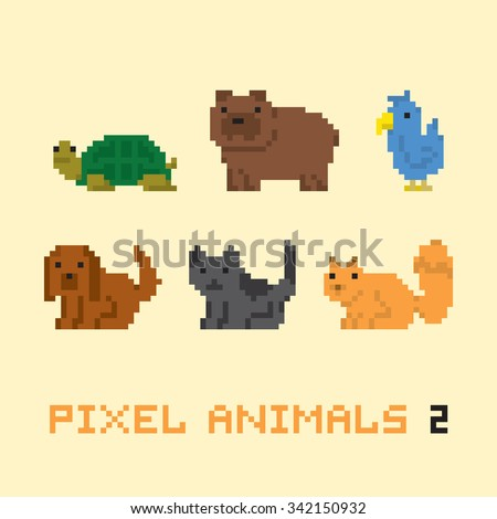 Pixel art style animals cartoon vector set 2