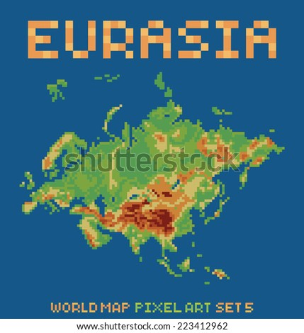 Conjunto de world map pixel de gdainti en shutterstock pixel art style illustration of eurasia physical world map gumiabroncs Image collections