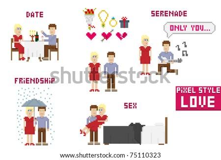 Pixel art style. Love. Vector illustration. - stock vector