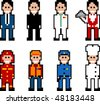pixel art style occupation people set - stock vector