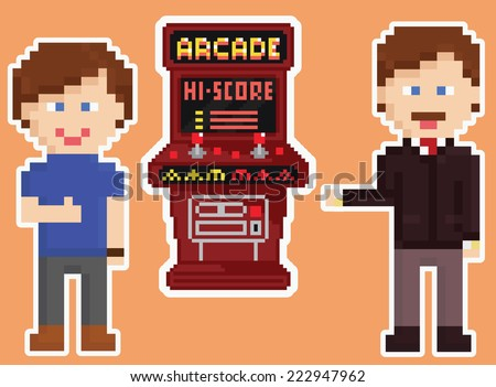 pixel art style red arcade cabinet with two happy gamers showing thumb up isolated on orange background - stock vector