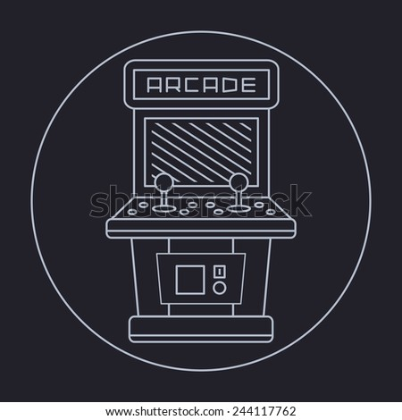pixel art style simple line drawing of arcade cabinet isolated vintage white item on black - stock vector