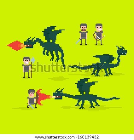 Pixel art warriors and flying fire belching dragon - stock vector