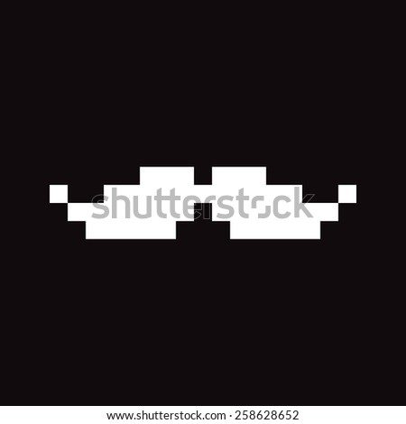Pixel art white moustaches isolated on white background - stock vector