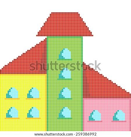 pixel art yellow, green, pink house - stock vector