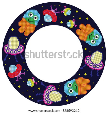 Pixel Cartoon Ufo Pixel Alien Frame Stock Photo (Photo, Vector ...