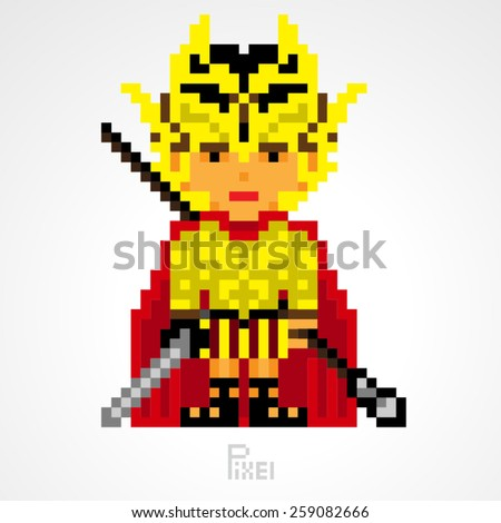 pixel character fighter spartan golden armor with sword and spear weapons vector - stock vector