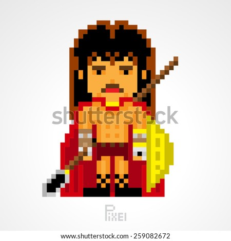pixel character fighter spartan shield with spear weapons vector - stock vector