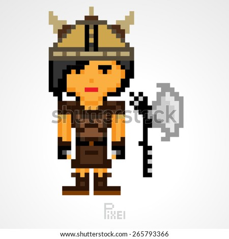 pixel character fighter viking girls with axe vector - stock vector