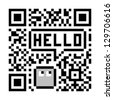 Pixel Character Says Hello in Fake Abstract QR Code - stock photo
