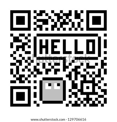 Pixel Character Says Hello in Fake Abstract QR Code - stock vector
