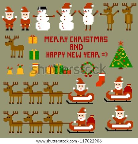 Pixel Christmas Holidays. Vector illustration 10-eps - stock vector