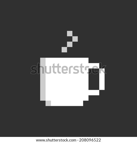Pixel cup. Cup of coffee icon, for game, app, web, flyer, brochure, card, poster. Simple game symbol. Easy to edit. Vector illustration - EPS10. - stock vector