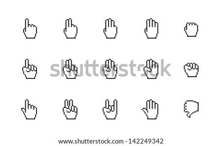 Pixel cursor icons, mouse hand on white background. Vector illustration. - stock vector