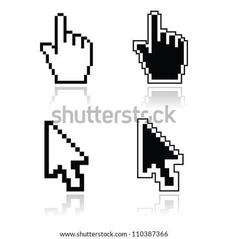 Pixel cursors black clean shiny icons - hand and arrow - stock vector