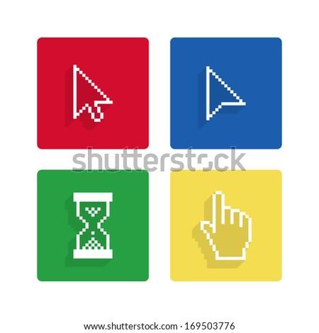 Pixel cursors flat icons - stock vector