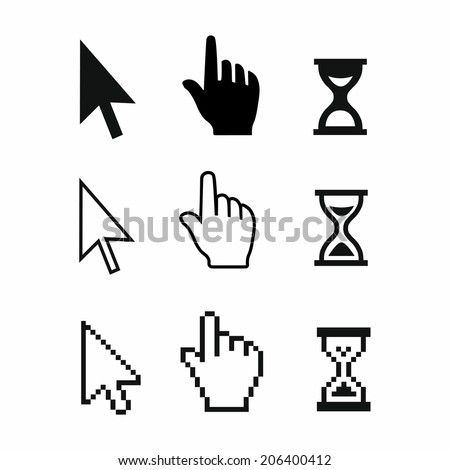 Pixel cursors icons: mouse hand arrow hourglass. Vector Illstration - stock vector