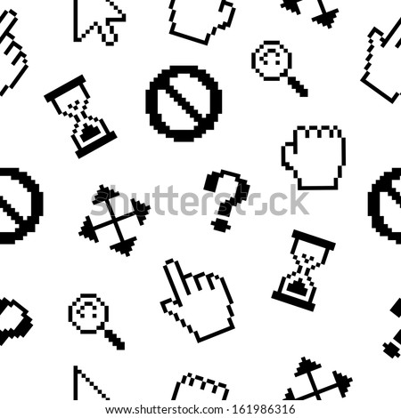 Pixel cursors icons pattern background - stock vector