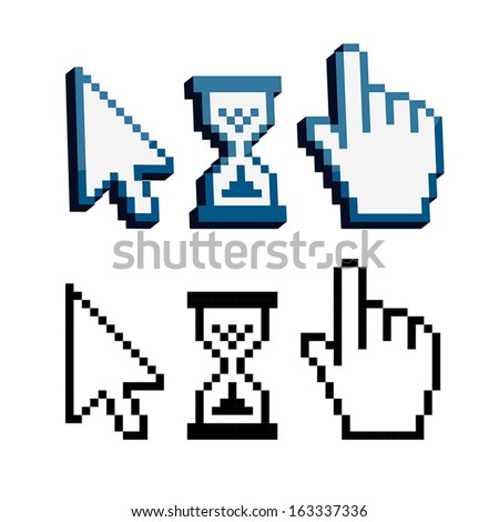 Pixel 3d cursors icons. Hand, Arrow, Hourglass - stock vector