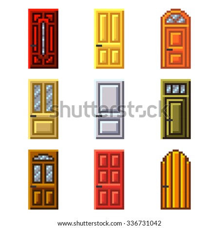 Pixel doors for games icons high detailed vector set - stock vector