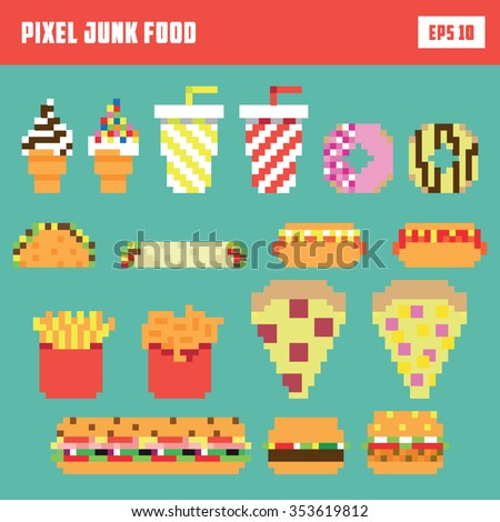 Pixel fast food set, isolated vector icon set - stock vector